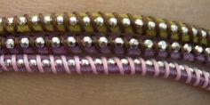bracciali a due giri con cuoio e catena di metallo - modello 2