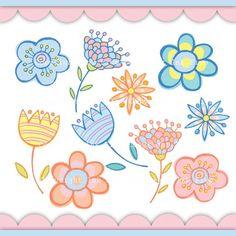 Doodle Flowers digital clip art. Cute spring clipart images for digital scrapbooking, invitations, cards.. $5.00, via Etsy.