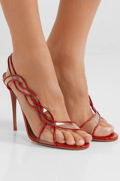 Find and compare Swing 105 PVC-trimmed patent-leather slingback sandals across the world's largest fashion stores! Fashion Sandals, Shoes Sandals, Dress Shoes, Flats, Beautiful High Heels, Evening Shoes, Slingback Sandal, Aquazzura, Patent Leather