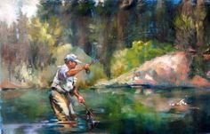 Home Waters- fly fishing oil painting, painting by artist Mary Maxam