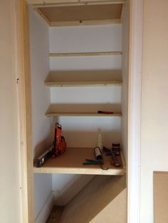 Shelves behind hanging rail in wardrobe, making the most of space. Solid Oak Doors, Fitted Wardrobes, Hanging Rail, Shoe Rack, Bookcase, Drawers, Victorian, Shelves, Flooring