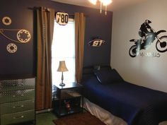 Used real motorcylce parts in the room - handle bars, number plate, brake and grips for the curtain rod and sprockets and chain were hung on the wall. Boys Bedroom Furniture, Kids Bedroom, Motocross Bedroom, Minecraft Room Decor, Dirt Bike Room, Big Boy Bedrooms, Grey Room, Toddler Rooms, Room Ideas