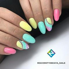 57 Nail Designs That Are So Perfect for Summer 2019 summer nails; Bright Nail Art, Bright Summer Nails, Bright Colors, Trendy Nails, Cute Nails, My Nails, Elegant Nail Designs, Cute Nail Designs, Pastel Nails