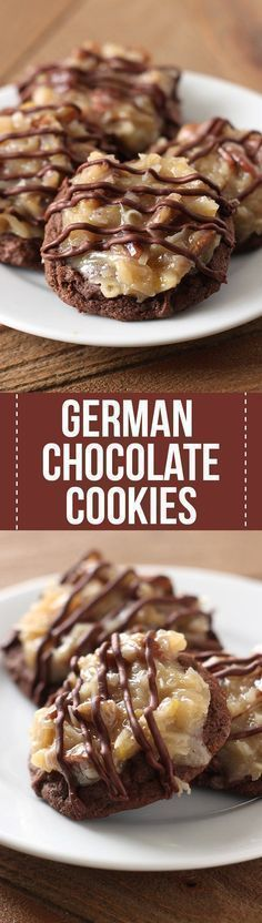German Chocolate Cookies feature a homemade ultra soft, chewy, and gooey double chocolate cookie loaded with a flavorful coconut pecan topping Amazing! is part of German chocolate cookies - Cookie Desserts, Just Desserts, Cookie Recipes, Delicious Desserts, Dessert Recipes, Yummy Food, Desserts Diy, Cookie Jars, Cookies Receta