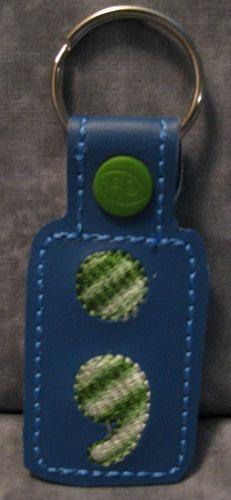 Semi Colon Blue & Green with Green Snap Tab KeyFob by ghostwalk on Etsy
