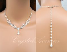 Backdrop Bridal Necklace Pearl Wedding Necklace Back Drop