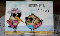 Flowers, Ribbons and Pearls: Water Colour Wednesday - Bon Voyage ! Crazy Bird, Crazy Cats, Bon Voyage Cards, Tim Holtz Stamps, Bird Cards, Cardmaking, Christmas Cards, Paper Crafts, Birds