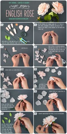 DIY Crepe Paper English Rose Tutorial from Crafted To Bloom #crepepaperrevival