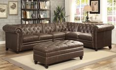 Cody Premium Top Grain Brown Tufted Leather Sectional Sofa Family