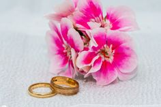 Wedding rings with lovely pink flowers Photography Portfolio, Pink Flowers, Patches, Wedding Photography, Wedding Rings, Engagement Rings, Jewelry, Enagement Rings, Jewlery