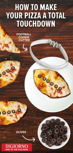 Steal the show with the ultimate pizza night. Grab your favorite DIGIORNO Pizza and bake for 18 to 21 minutes for that perfectly piping hot and crispy golden crust. Then use cookie cutters to create insanely delicious mini footballs. Now let's take a second to appreciate the real MVP—your oven-fresh halftime pizza.