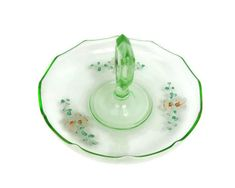 This item is unavailable Dessert Dishes, Candy Dishes, Serving Plates, Serving Dishes, Sandwich Trays, Orange Center, Vintage Cake Stands, Vintage Green Glass, Glass Center