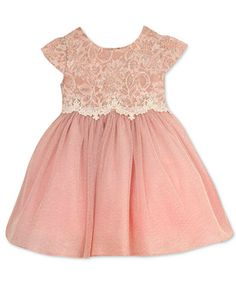 Dress your baby girl in this elegant Rare Editions party dress, featuring a dainty lace bodice paired with a dreamy, shimmer ballerina-style skirt. | Bodice: rayon/nylon; skirt, lining and diaper cove