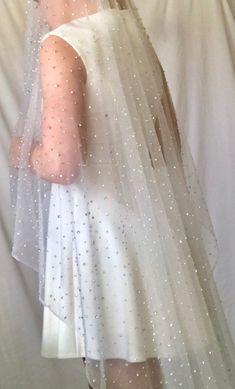 rhinestone cathedral veil? Yes please!  #beadedveil #beadedfabric #beadedtulle #wedding #weddingdressfabric #rhinestonefabric