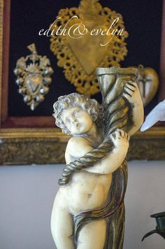 Vintage Cherub Statue, Salvaged Lamp Base by edithandevelyn on Etsy