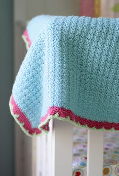 Crocheted baby blanket - love these colors - light turquoise, hot pink, lime green. Love.