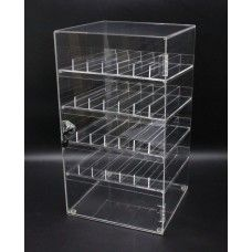 FixtureDisplays Clear Nail Polish Display Acrylic Locking Cabinet Plexiglass Cosmetic Case Lucite Locking Showcase w/4 Removable Trays 100829