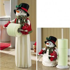 While on the topic of Christmas decorations, do not banish your bathroom to a cheerless corner. Decorate your bathroom with these Christmas bathroom décor ideas. Christmas 2014, Christmas Snowman, All Things Christmas, Christmas Ornaments, Christmas Projects, Holiday Crafts, Holiday Ideas, Christmas Bathroom Decor, Cool Art Projects