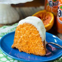 Fanta Orange Soda Pound Cake recipe from Spicy Southern Kitchen. #cake #desserts #party