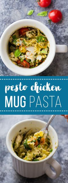 This Pesto Chicken Mug Pasta cooks in the microwave in just 10 minutes!  The perfect dinner for one, dorm room meal, or lunch on the go!