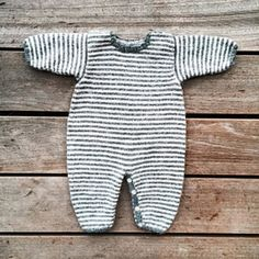 Olive's jumpsuit is knitted from the bottom up.