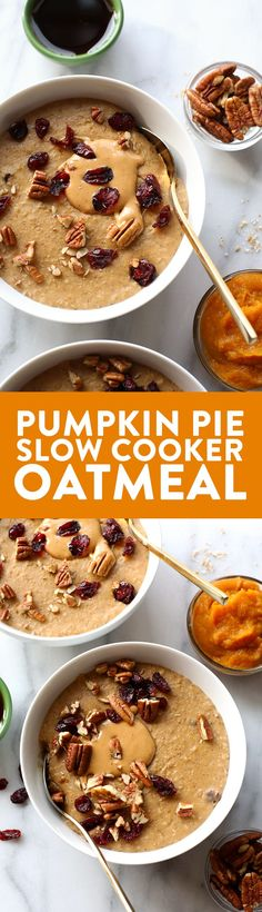 This Pumpkin Pie Slow Cooker Oatmeal is creamy as can be and full of flavor. It's made with steel cut oats, pumpkin puree, pumpkin spice, and a hint of maple.