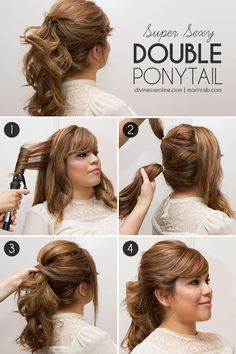 fuller ponytail Rock this double-decker ponytail and add a little pep to your step. This playful look also help make your hair appear longer and fuller. We feel a date night coming on! Ponytail Hairstyles Tutorial, Ponytail Tutorial, Messy Hairstyles, Pretty Hairstyles, Dressy Ponytail, Double Ponytail, Fuller Ponytail, Afro, Tips Belleza