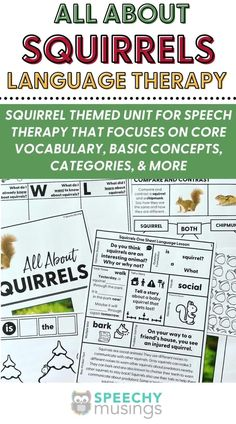 """Have you ever wished you had a bundle of themed Speechy Musings resources at the ready for certain themes or times of year? Look no further! This themed language therapy unit includes a wide variety of materials and resources for your students with language goals using a fun and relatable """"squirrels"""" theme.Targets core vocabulary, basic concepts, describing, categories, and more. #speechtherapy #squirrelsthemedactivities #themedspeechtherapyunit #basicconceptsforspeechthearpy Speech Therapy Activities, Squirrels, Vocabulary, Core, Students, Language, The Unit, Teacher, Goals"""