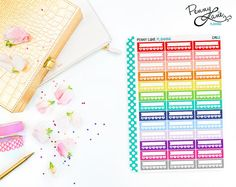 Daily Habit Sidebar Stickers // CM02 // Removable Matte Planner Stickers  This sticker set comes with 39 Daily Habit sidebar stickers for your vertical Erin Condren Life Planner. Write in the habit you'd like to maintain on the banner, and cross off the days that you are successful!
