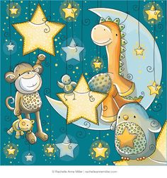 Unlikely Friends: Starry Night (Rachelle Anne Miller) Tags: Art And Illustration, Cute Images, Cute Pictures, Unlikely Friends, Good Night Moon, Digital Stamps, Kids Decor, Stars And Moon, Nursery Art