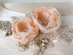 Bridal sash Silver Blush Nude Champagne by NatachaFontanel