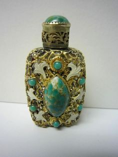 Antique Czech Perfume Bottle Ornate Metal Filigree Cover W Turquoise