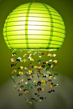 DIY Butterfly Lamp: Whimsical mobile complete with tutorial by Mandy. Butterfly Lamp, Butterfly Lighting, Butterfly Mobile, Paper Butterflies, Green Butterfly, Butterfly Kisses, Beautiful Butterflies, Do It Yourself Projects, Diy Projects To Try