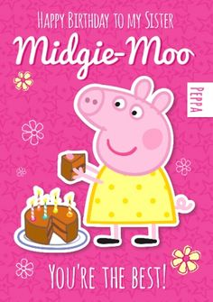 The 60 best girls birthday cards images on pinterest anniversary peppa pig birthday card to my sister funky pigeon filmwisefo