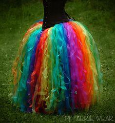 Rainbow Organza Full Length 'Raggle Taggle' Tutu by tpffaeriewear, etsy Diy Tutu, Diy Tulle Skirt, Diy Dress, Tulle Skirts, Rainbow Tutu, Rainbow Outfit, Rainbow Brite, Tutu Costumes, Halloween Costumes