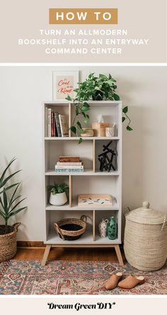 AllModern Bookshelf Entryway Makeover   dreamgreendiy.com + @allmodern #ad Green Bookshelves, Narrow Bookshelf, Bookshelves In Bedroom, Decorating Bookshelves, Bookcase, Bookshelf Makeover Diy, Diy Bookshelf Design, Bookshelf Styling, Bookshelf Ideas