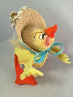 "Vintage With Tags 1972 Duck with Straw Hat Bonnet 7"" #1505 Easter in Dolls & Bears, Dolls, By Brand, Company, Character 