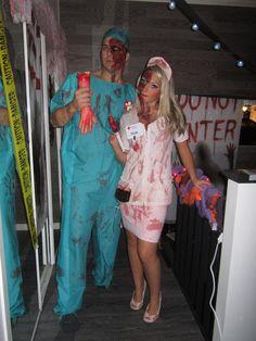 Costume halloween couple doctor
