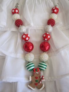 Super cute Chunky Bead Gingerbread Necklace. by TeagabooBoutique, $19.00