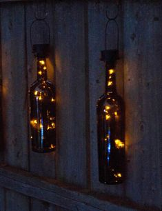Turn any empty wine or other glass bottle into a lantern with this solar-powered lantern kit that automatically illuminates at dusk. Wine Bottle Lanterns, Empty Wine Bottles, Glass Bottle Crafts, Wine Bottle Art, Painted Wine Bottles, Lighted Wine Bottles, Diy Bottle, Decorated Bottles, Diy Projects With Wine Bottles