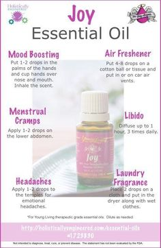 Joy Essential oil by young living. One of my favorites Joy Essential Oil, Natural Essential Oils, Essential Oil Diffuser, Essential Oil Blends, Natural Oils, Healing Oils, Aromatherapy Oils, Young Living Oils, Young Living Essential Oils