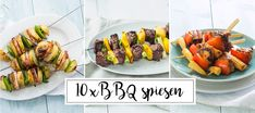 The BBQ season has started again. What is a BBQ without delicious skewers? Party Side Dishes, Side Dishes For Bbq, Summer Party Appetizers, Vegas, Bbq Party, Delicious Dinner Recipes, Summer Recipes, Barbecue, Food And Drink