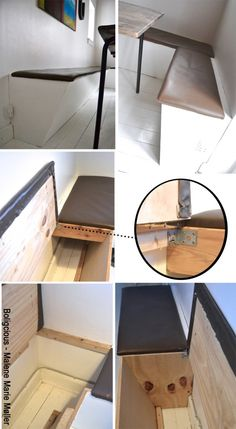 DIY- bench with great space. I love how it is narrower in the bottom so there's plenty of leg room. Love the leather finish, too. Diy Sofa, Diy Daybed, Building Furniture, Diy Furniture, Kitchen Banquette, Compact Living, Diy Wall Art, Diy Storage, A Table