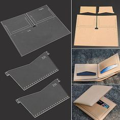 3 Size DIY Leather Craft Acrylic Wallet Belt Strap Stencil Template Tool Set