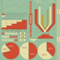 Retro elements for infographics - charts, Graphs for Presentation - vector stock vector