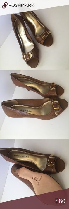 Antonio Melani Brown Leather Heels Like new, excellent condition. Peep toe - approx a two inch heel. Brown leather with gold buckle in toe area. Do not wear enough. ANTONIO MELANI Shoes Heels
