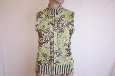 CHRISTOPHER & BANKS Sweater Top Sz S Sleeveless Green Brown Floral Front…