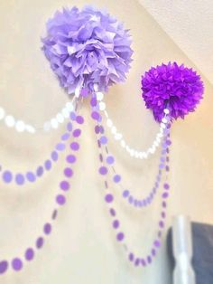 Ombre Pom Pom Garland great for a baby showe or a little girl birthday party Lila Party, Festa Party, Sophia The First Birthday Party Ideas, Birthday Ideas, Fete Audrey, Girl Birthday, Birthday Parties, Princess Sofia Birthday, 21st Birthday