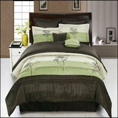 "Portland Sage Queen size Luxury 12 piece Comforter set includes Comforter, sheets, skirt, Throw Pillows, Pillow Shams by Royal Hotel by Royal Hotel. $119.99. 1- cushion 16""x16"", 1- breakfast pillow 12""x16"", 1- Neck Roll 6.5""x16"". Comforter Material : 100% Polyester, Sheets Color & Material : White 100% Microfiber : Mashine wash. 1-Queen Flat sheet 92""x 102"", 1-Queen Fitted sheet 60""x80"" fit mattress up to 16""deep, 2-Standard Pillowcases 20""x30"". 1- Bed Skirt 6..."