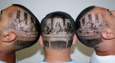 Last Supper Barber Cut! Create this design with Keller professional barber supplies! Photomontage, Barber Games, Mona Lisa, Shaved Hair Designs, Bella Beauty, Barbers Cut, Pin Up, Haircut Designs, Look Man